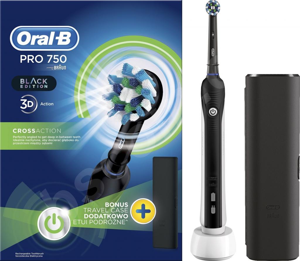 Oral B Pro 750 Black Cross Action